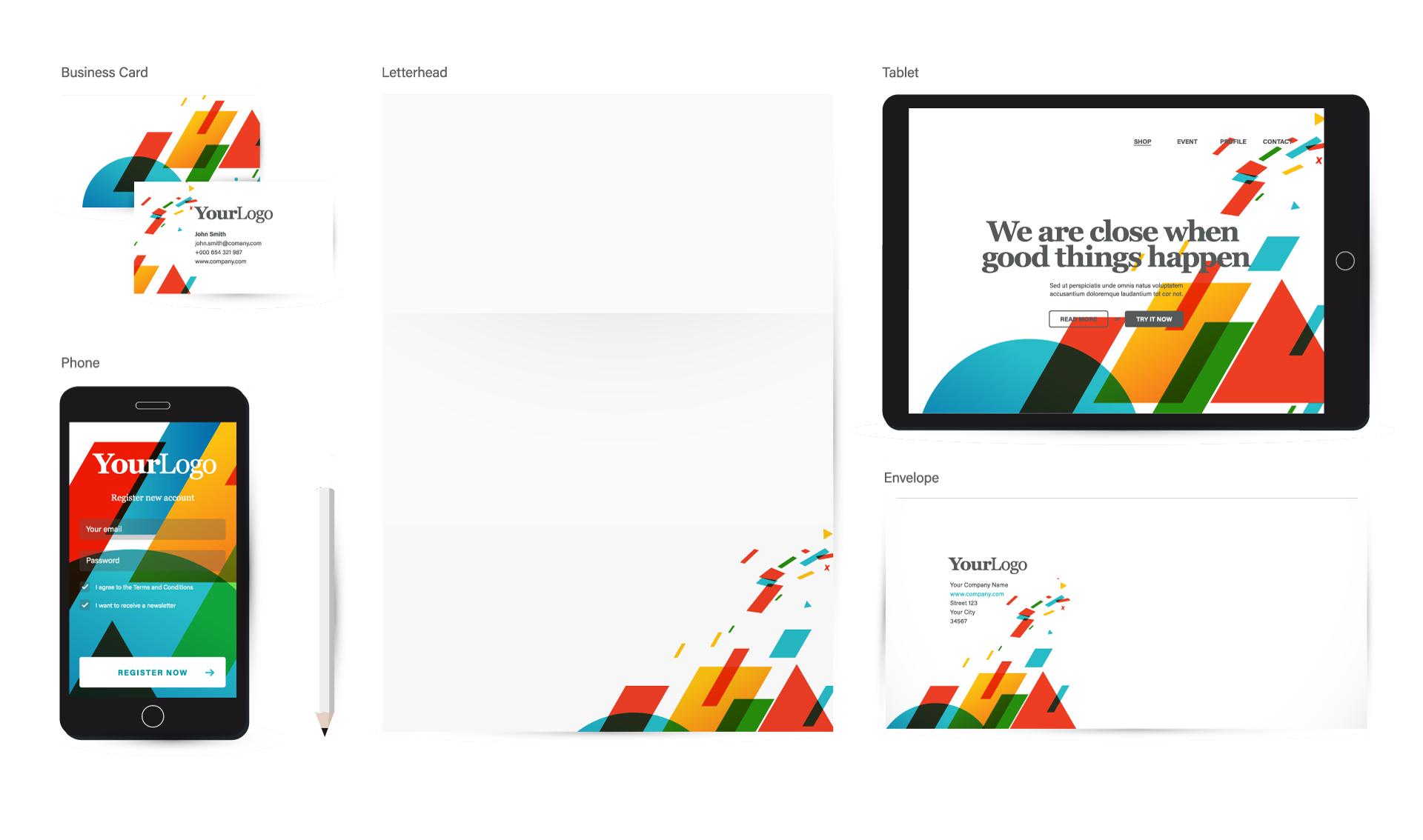Professional Web Design Example - website business card letterhead design